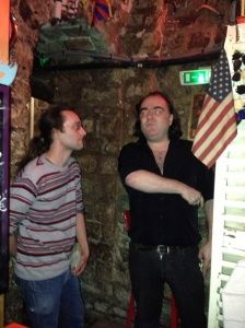 Albin Suffys with DJ Jeff at Chez Georges World Music Club the night they featured Like A Bridge.