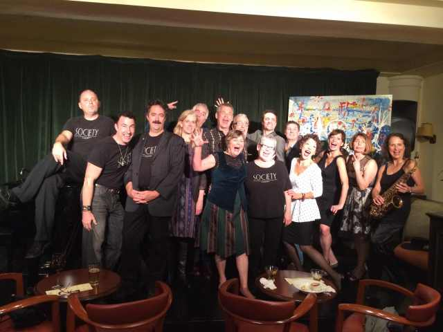 Cast of Cabaret Comico 2014, night 1, with owners of Society Cabaret and host-producer Lua Hadar